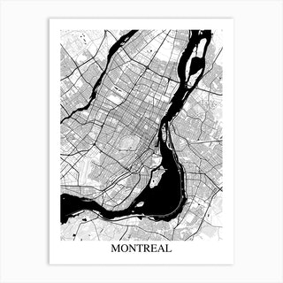 Montreal White Black Art Print