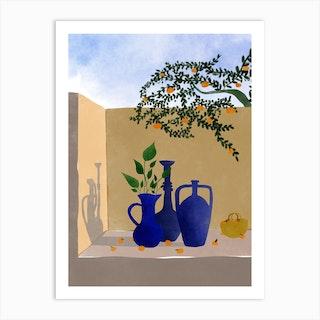 Under The Orange Tree Art Print