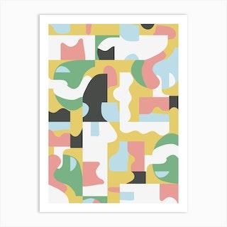 Organic Matisse Blocks Pink Mustard Art Print