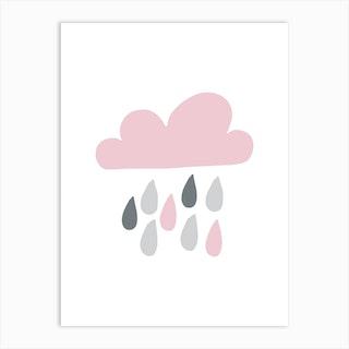 Rain Cloud Pink And Grey Art Print