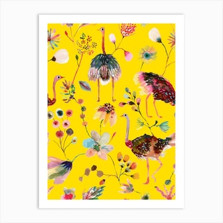 Ostriches And Floral Yellow Art Print