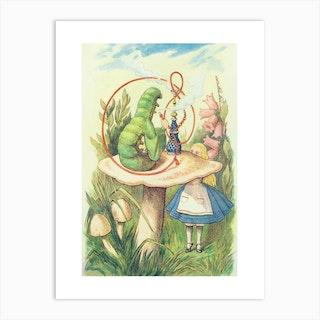 Alice Meets The Caterpillar Art Print