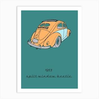 Car Vw Split Beetle Art Print