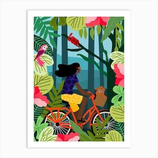 Girl Bike Art Print