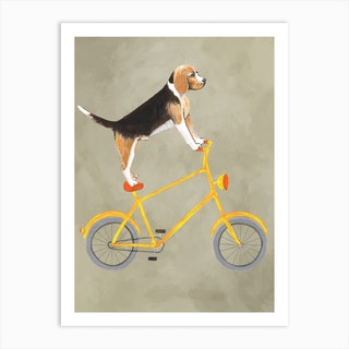 Beagle On Bicycle Art Print
