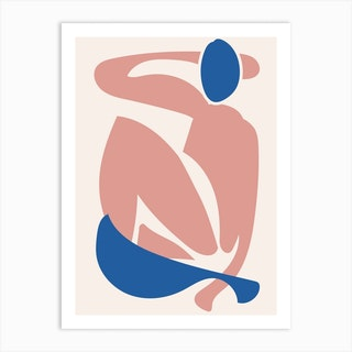 Deconstructed Blue And Pink Figure Art Print