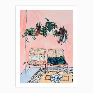Interior With Napping Ginger Cat On Pink Art Print