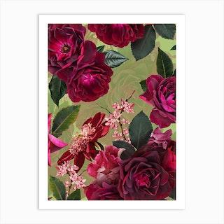 Vintage Summer Botanical Roses Garden Art Print