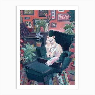 White Cat In Colorful Interior Matisse Inspired Art Print