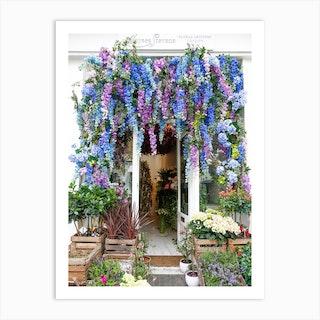 Blue Flower Shop London Art Print