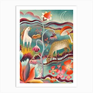 Night Garden Animals Art Print