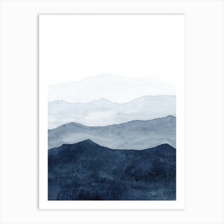 Mountains Ombre Art Print