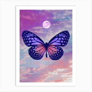 Moody Butterfly Moon Collage Art Print