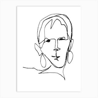 Geraldine Female Black And White Line Art Art Print