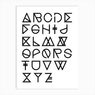 Geometrical Abc White Art Print