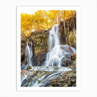 Waterfall With Yellow Leaves Art Print