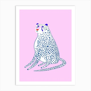 Snow Cheetah Pink Art Print