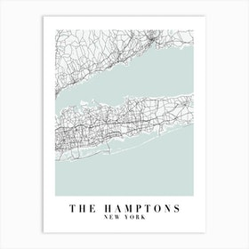 The Hamptons New York Street Map Minimal Color Art Print