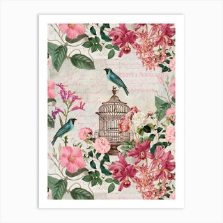 Vintage Birdcage Art Print