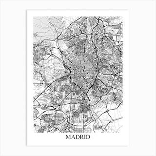 Madrid White Black Art Print