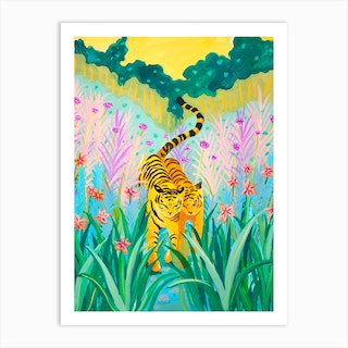 Tigers In Garden Art Print