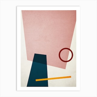Conceptual Abstract Shapes Pink And Blue Art Print