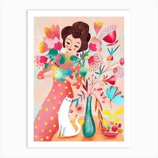 Lady And Cat Floral Arrangement Art Print