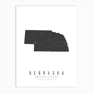 Nebraska Mono Black And White Modern Minimal Street Map Art Print