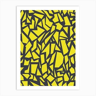 Geometric Pattern Grey Yellow Art Print