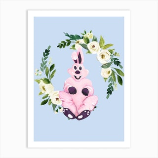 Pink Bunny And Flower Wreath Art Print