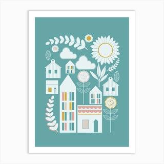 Scandi Village Scene In White Art Print