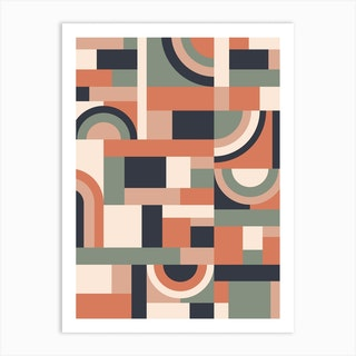 Earth Tones Blocks Art Print