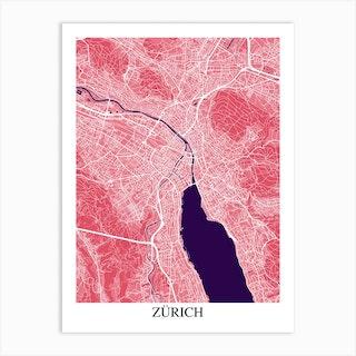 Zurich Pink Purple Art Print