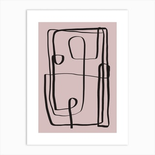 Pink Line Abstract Art Print