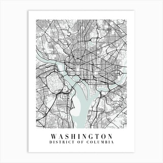 Washington Dc Street Map Minimal Color Art Print