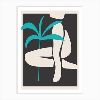 Abstract Shapes And Palm Tree Art Print