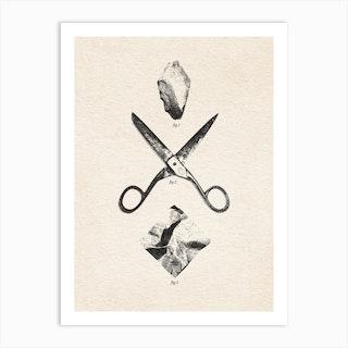 Rock Scissors Paper Vintage Art Print