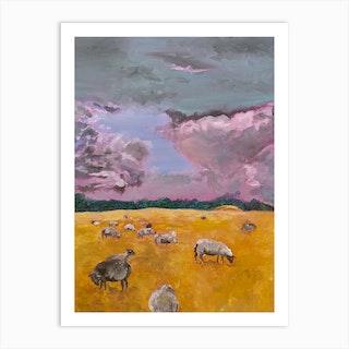Big Clouds Little Sheep Art Print