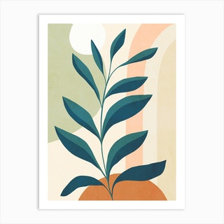 Earthy Tropical Foliage Blue 1 Art Print