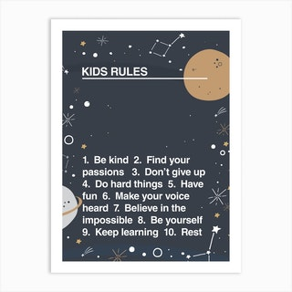 Kids Rules Art Print