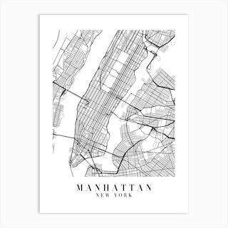 Manhattan New York Street Map Minimal Art Print