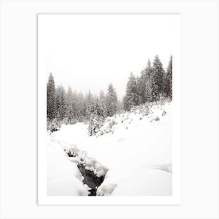 Black River White Winter Forest Art Print
