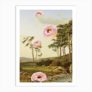 Cloudy With A Chance Of Donuts Art Print