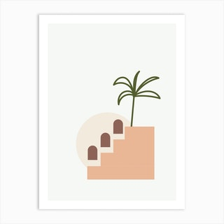 Minimal Terracota Shapes And Palm Art Print