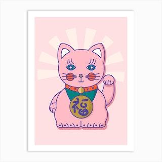 Good Luck Cat Art Print