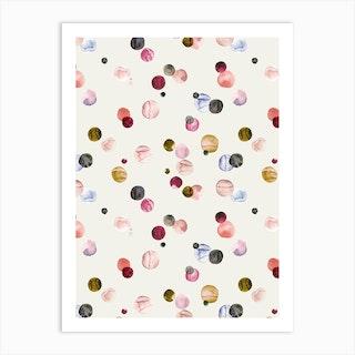 Watercolor Dots Multi Art Print