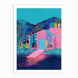Lake House At Dusk Art Print