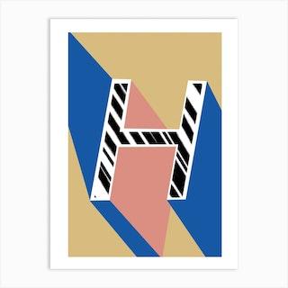 H Geometric Font Art Print