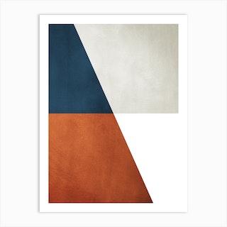 Diagonal Symmetric Shapes Orange And Blue Art Print