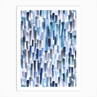 Watercolor Brushstrokes Classic Blue Indigo Art Print